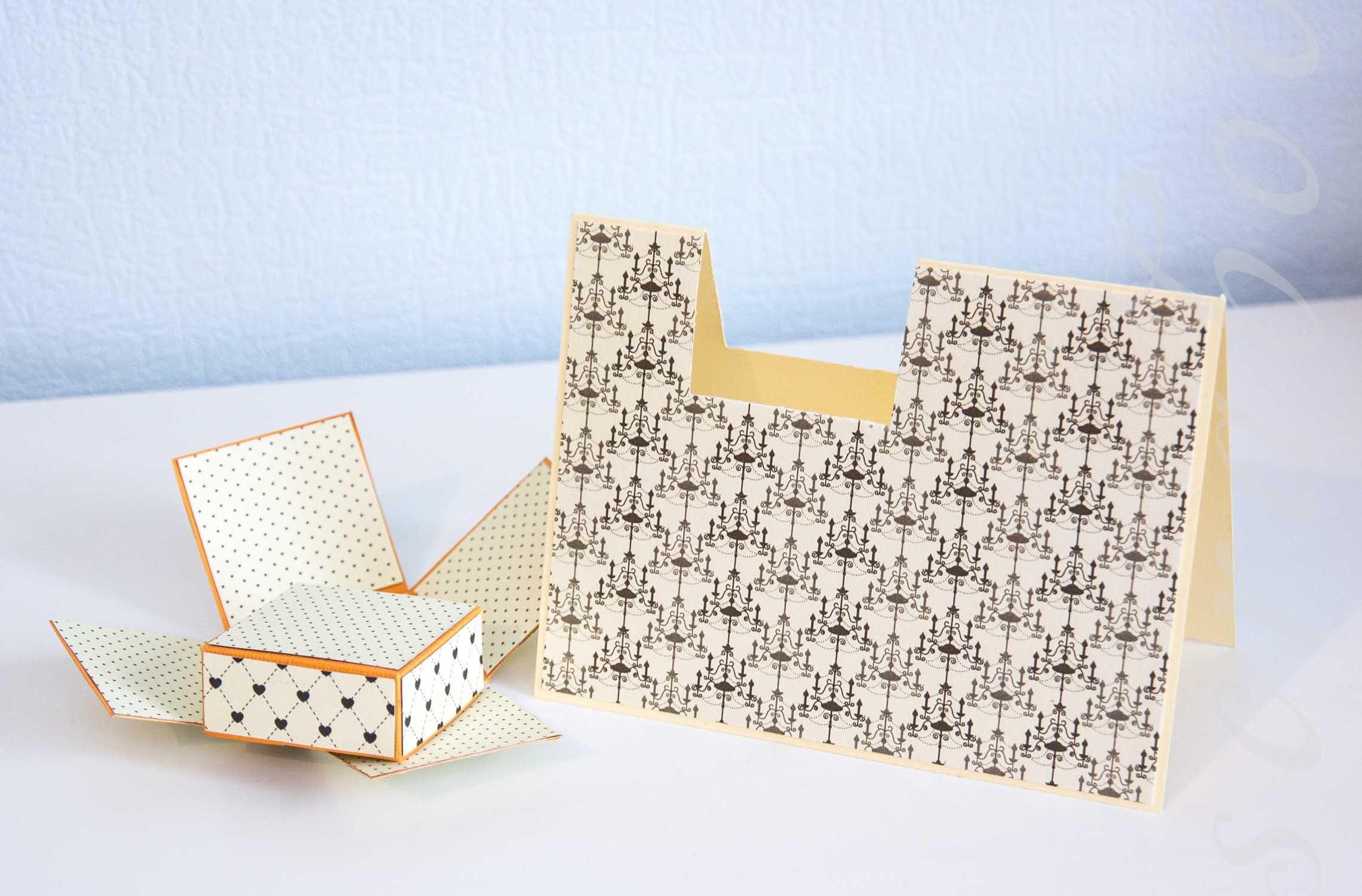 делаем открытка с коробочкой из бумаги